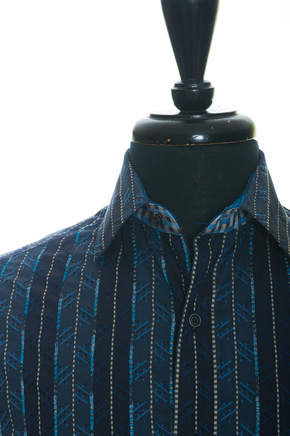 Robert Graham Blue Embroidered Stripe Shirt