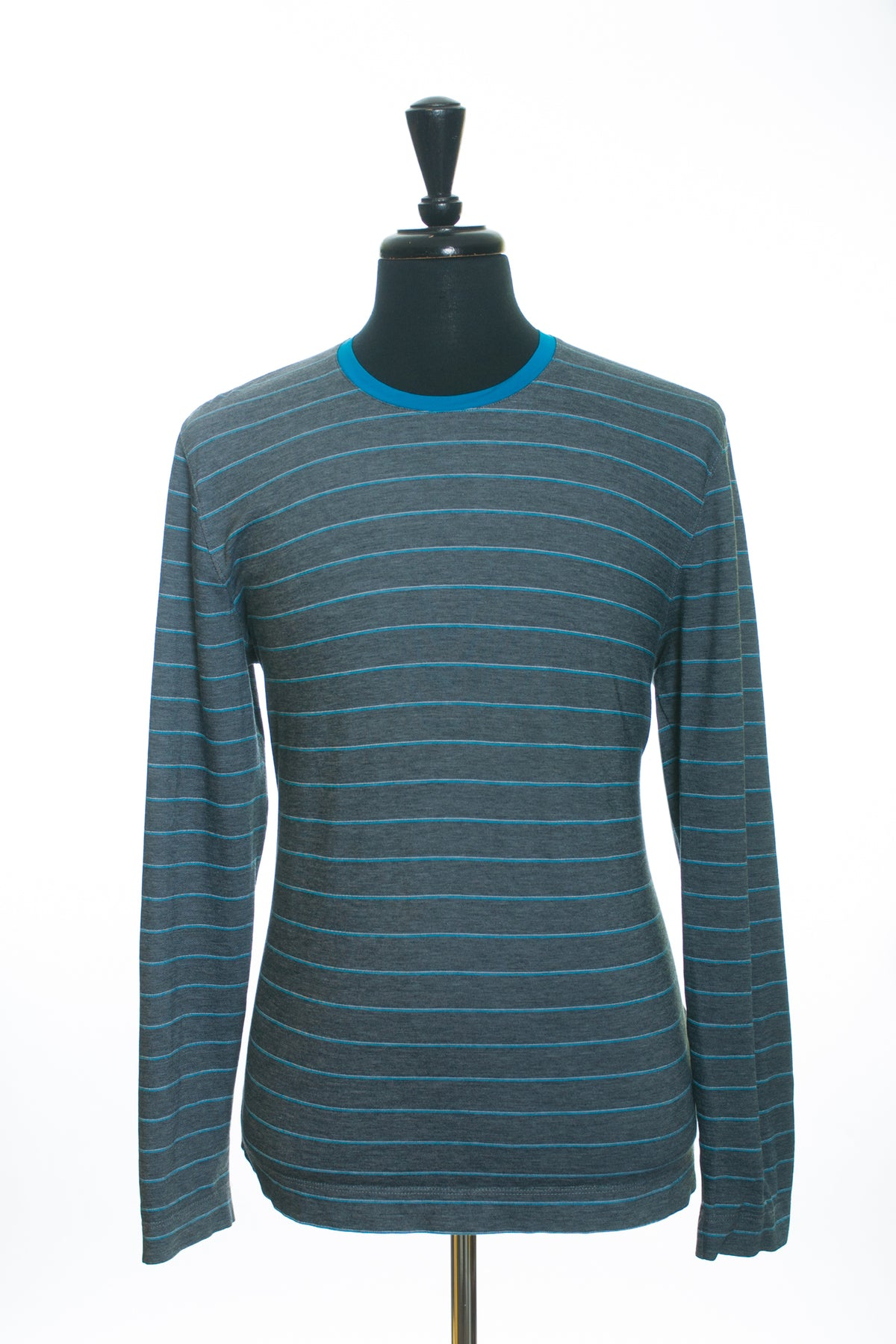 Hugo Boss Grey Striped Pisa21 Long Sleeve T-Shirt