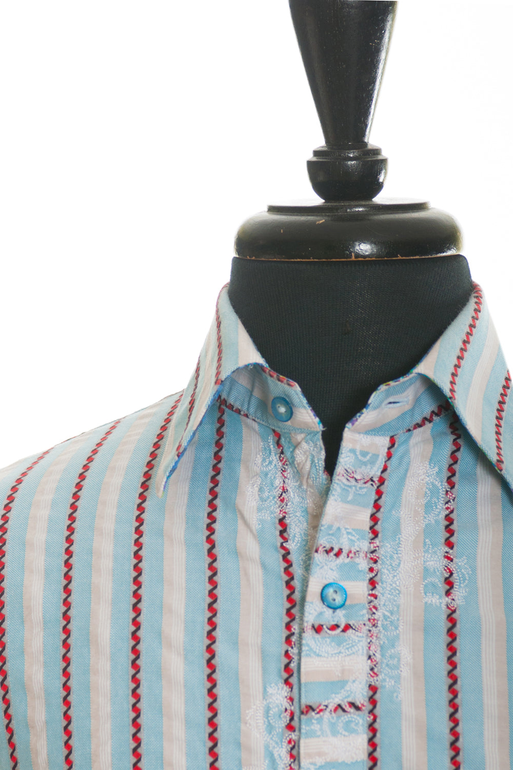Robert Graham Blue Patterned Stripe Embroidered Shirt