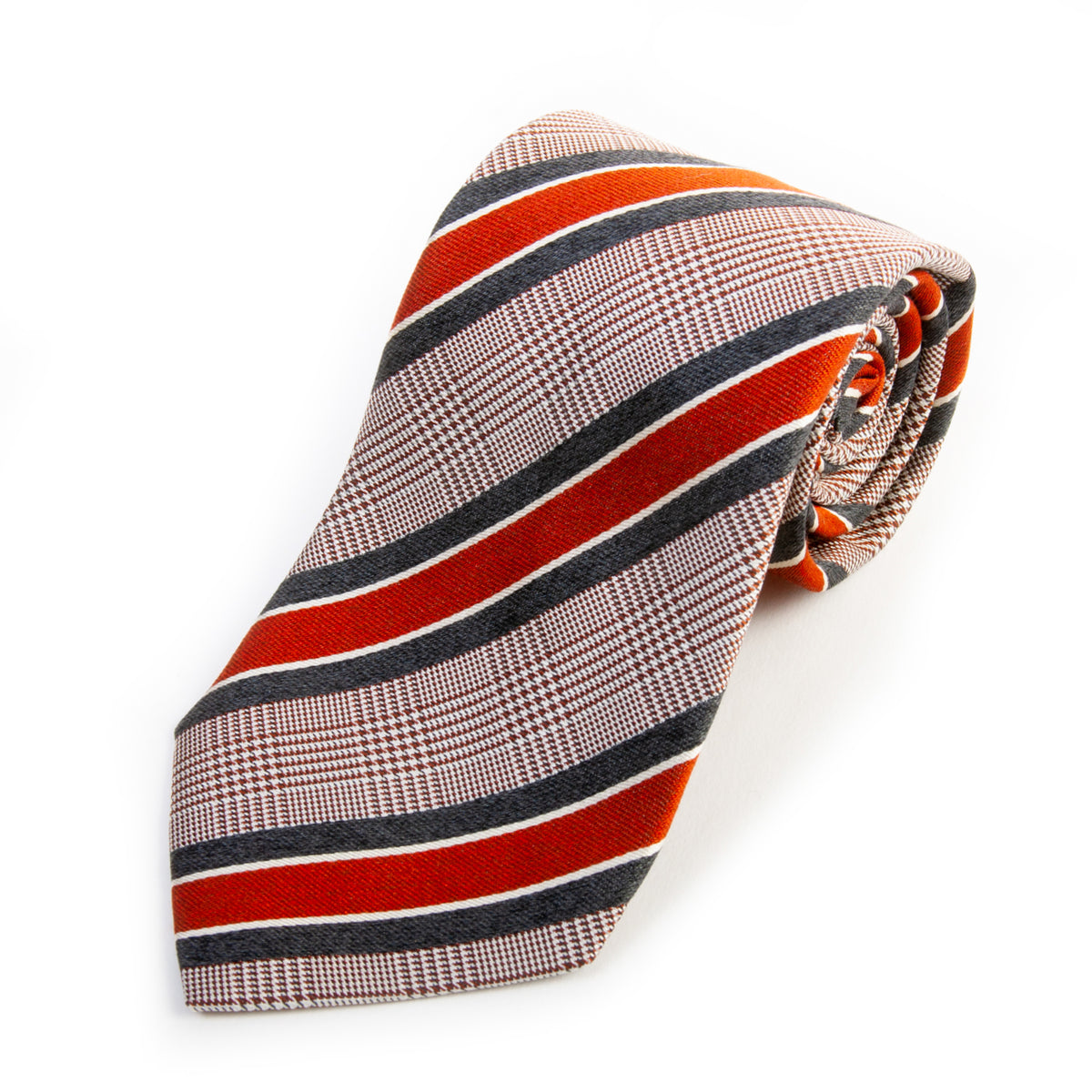 Holt Renfrew Made in Italy Brown Repp Silk Tie for Luxmrkt.com Menswear Consignment Edmonton