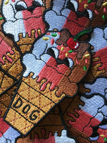 Ice Cream Puppy Dog Cone Iron Embroidered Patch