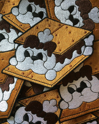 Smores Puppy Dog Treat Iron Embroidered Patch