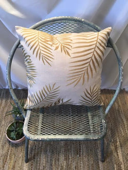 Gold Palm Frond Pillow Cover