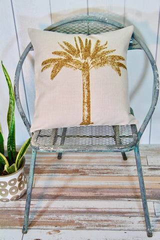 Golden Palm Tree Pillow Cover