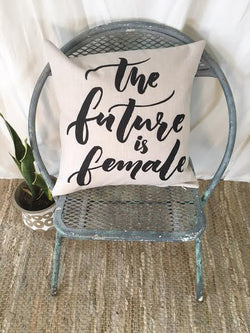 """The Future is Female"" Pillow Cover in Black"