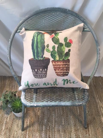 "Cactus ""You and Me"" Pillow Cover"