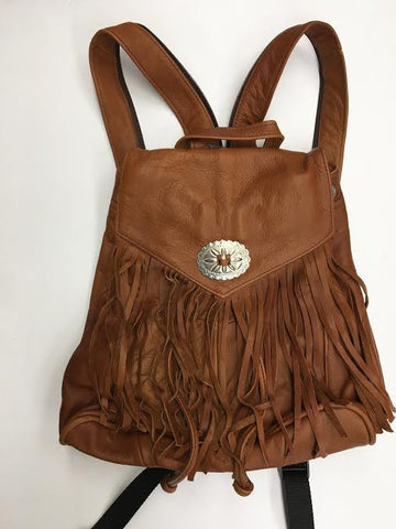 Fringe with Conch Detail Backpack in Rust Leather