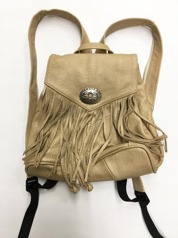 Fringe with Conch Detail Backpack in Tan Leather