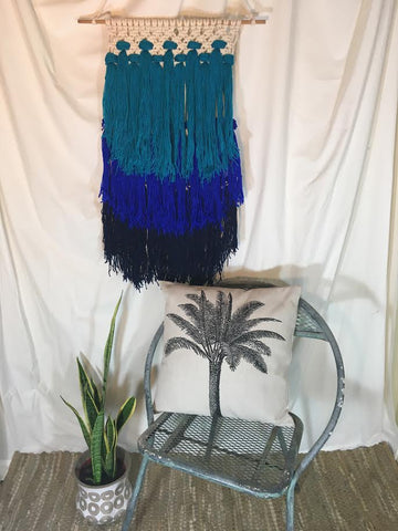 Shades of Blue Macrame Wall Hanging