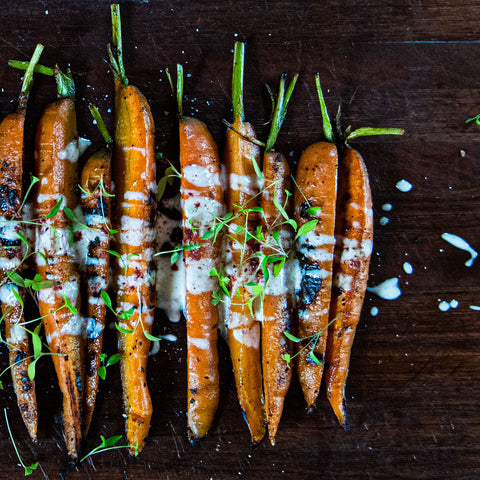 Roasted Carrots with Sauce, Freshly Roasted Carrots