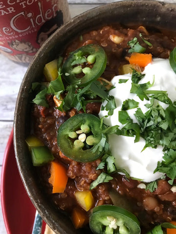 vegan chili, quinoa, recipes, vegan, chili, fire cider