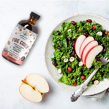 Spice up your fall greens with a spicy Fire Cider vinaigrette! Recipe on the Fire Cider Blog