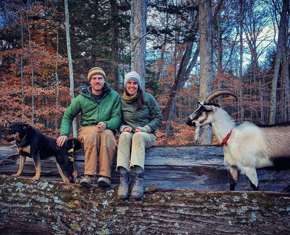Abe and Maddie of Hosta Hill, their pup Oso and Goat Eddie