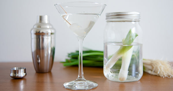 Vodka infused with fresh green onions puts a new spin on the classic martini - on the Fire Cider Blog