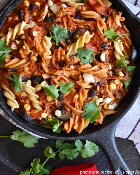 Easy and delicious skillet Taco Pasta from @lilsipper on the Fire Cider Blog at FireCider.com