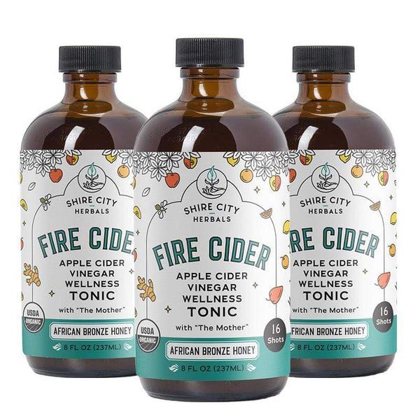 Fire Cider | Triple Pack | 8 oz | African Bronze Honey | Apple Cider Vinegar and Honey Tonic
