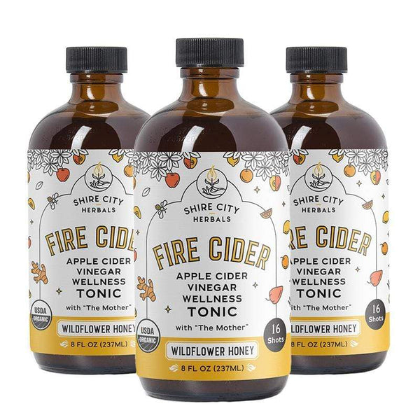Fire Cider | Triple Pack | 8 oz | Wildflower Honey | Apple Cider Vinegar and Honey Tonic