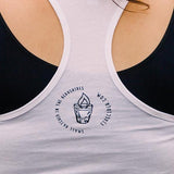Fire Cider racer back tank top, white, back detail