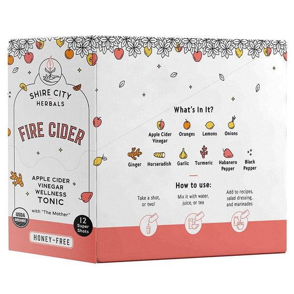 Fire Cider | 1 oz Super Shot | 12 pack | Honey-Free | Apple Cider Vinegar Tonic