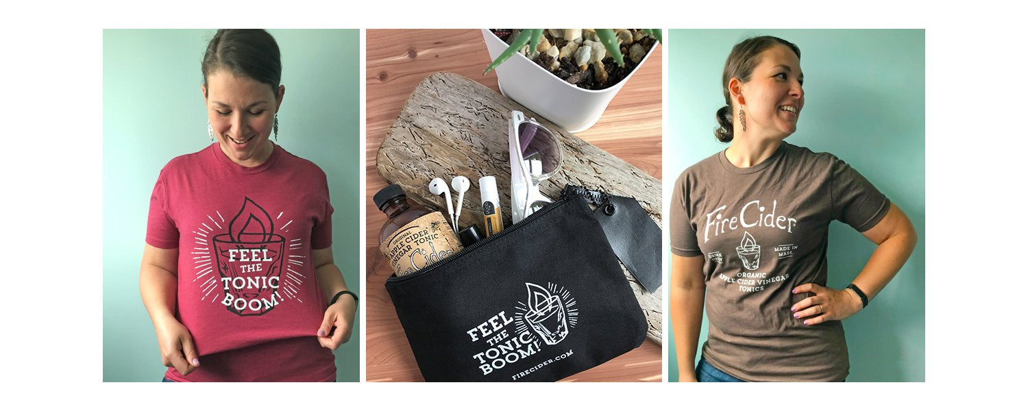 T-shirts, totes, shot glasses and more! Show the world you love of Fire Cider with stylish swag!