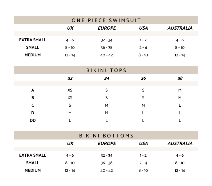 AERIN SWIMWEAR SIZE GUIDE