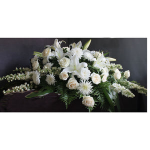 All White Casket Spray - The Blooming Idea Florst - The Woodlands, Texas
