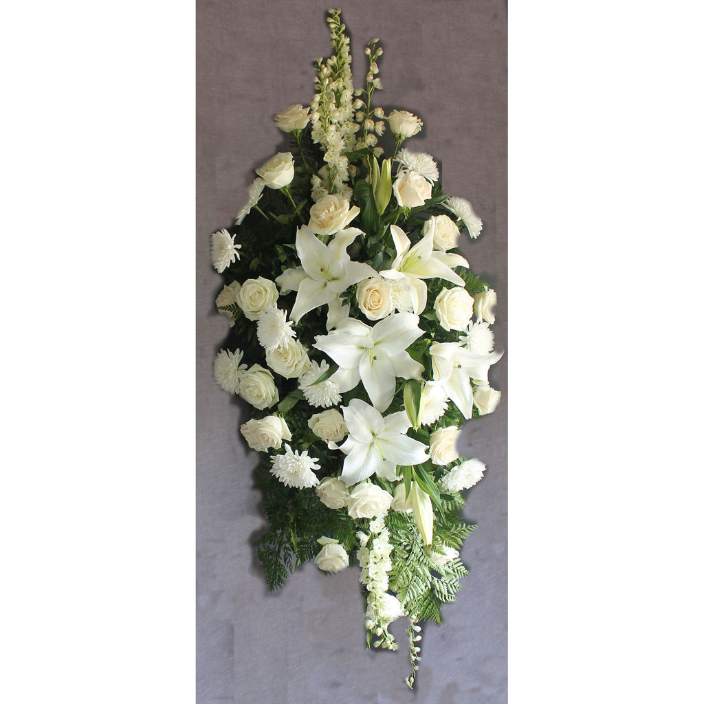 White Standing Spray - The Blooming Idea Florst - The Woodlands, Texas