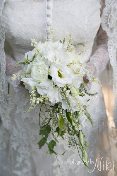 Lisianthus and Lily of the Valley Cascade Bouquet - The Blooming Idea Florst - The Woodlands, Texas