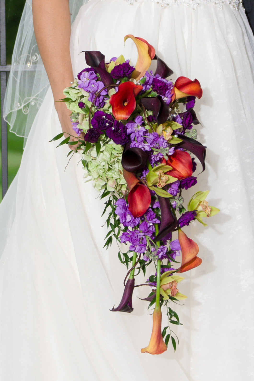 Purple & Orange Calla Lily Cascade Bouquet - The Blooming Idea Florst - The Woodlands, Texas