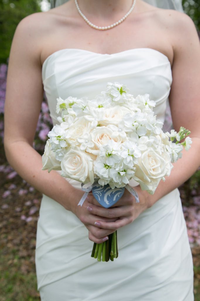 Stephanotis, Rose and Stock Bouquet - The Blooming Idea Florst - The Woodlands, Texas