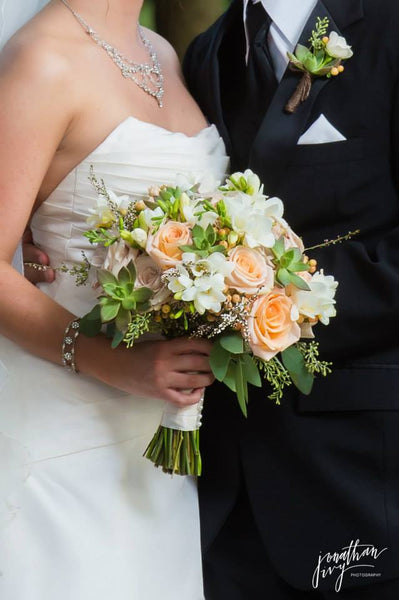 Peach Rose and Succulent Bouquet - The Blooming Idea Florst - The Woodlands, Texas