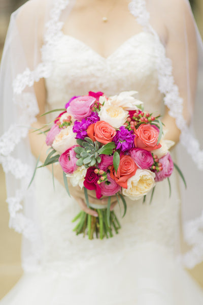 Coral, fuchsia & blush bouquet - The Blooming Idea Florst - The Woodlands, Texas