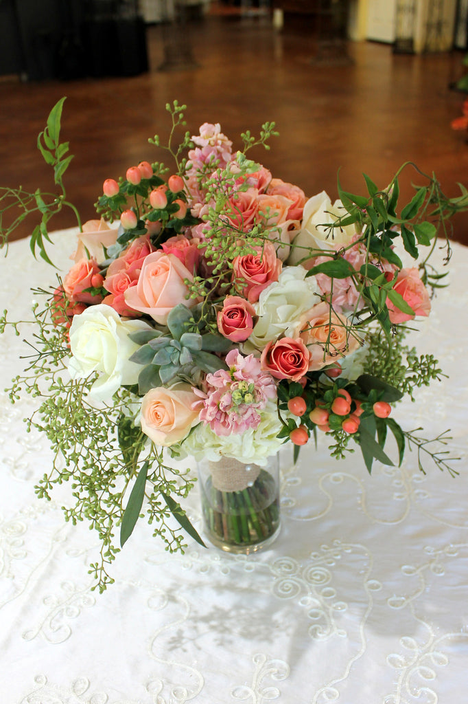 Coral , Peach and Sage Bouquet - The Blooming Idea Florst - The Woodlands, Texas