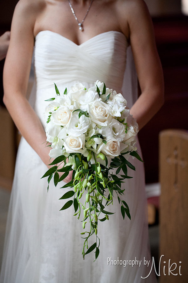 White & Ivory Cascade Bouquet - The Blooming Idea Florst - The Woodlands, Texas