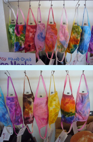 Artsy, hand-dyed face masks in inventory