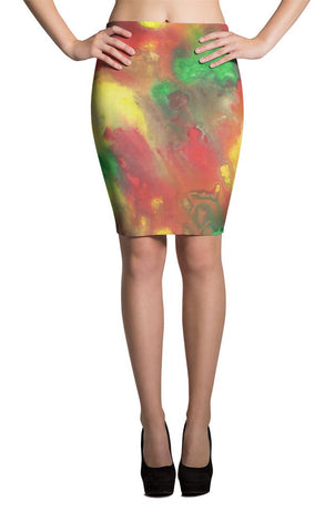All-Over Design Skirt -- Red Yellow Green