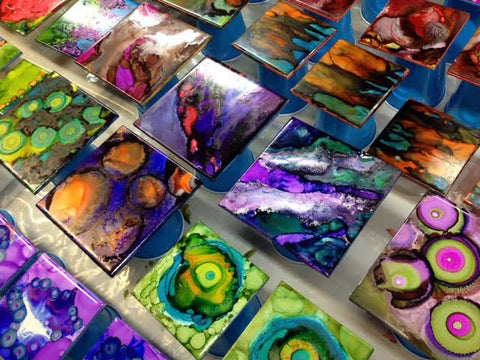 Simply Have Fun Workshop -- Alcohol inks on ceramic tiles -- Dates to be announced