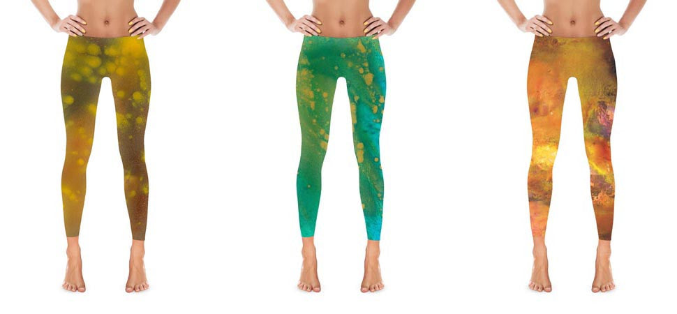 Patterned leggings printed with reproductions of original OngaArt