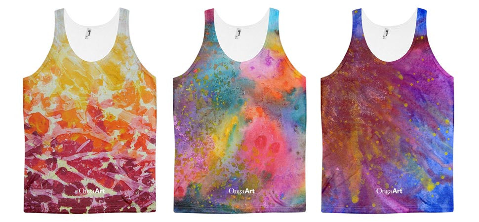Unisex tank tops with all-over design