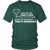 Care For One...That's Love. Care For Hundreds...That's Nursing (Tees & Tanks)