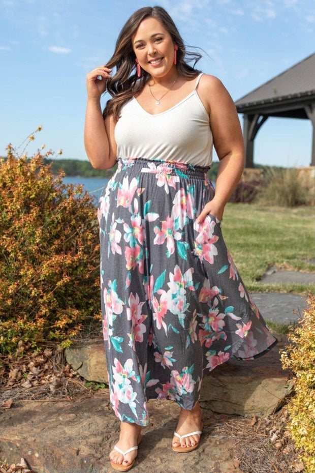 a full figured woman wearing an along the bay maxi skirt in navy