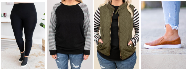 One Missing Piece Leggings + Simple in Stripes Sweater + At All Hours Vest + Grand Prize Slides