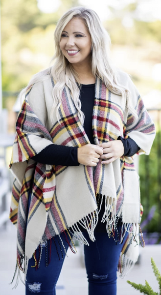 Twice as Nice Poncho in Ivory-Taupe