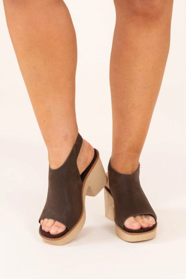 a pair of bring the energy wedges in brown