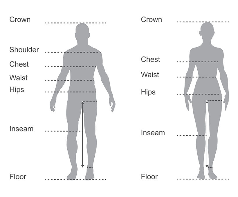 male female clothing measurement areas