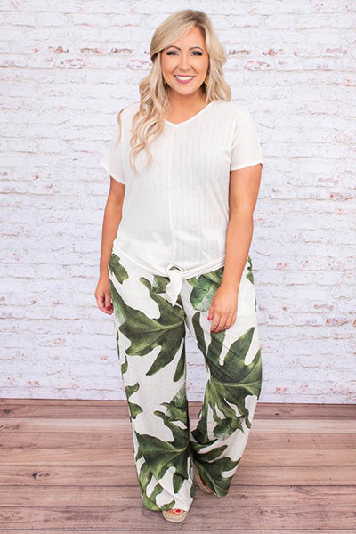palm down pants green