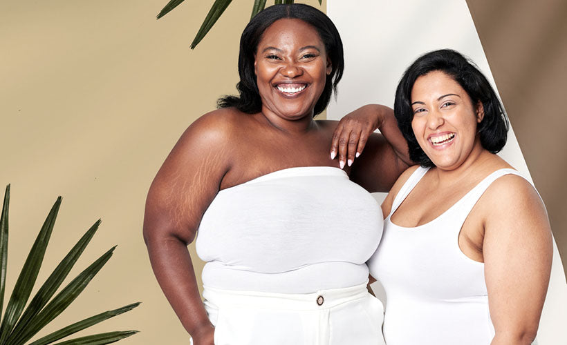 plus size models in white tops