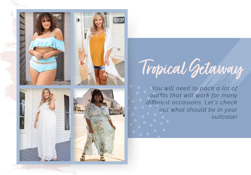 tropical getaway outfit options modeled by full-figured women