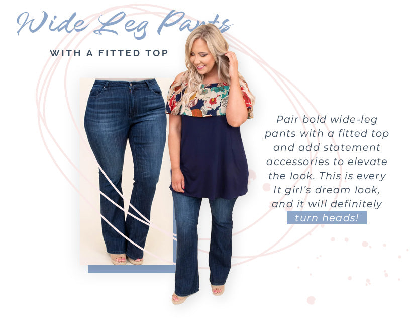 wide leg pants fitted top
