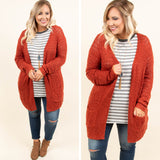 Comfort Is Key Cardigan, Rust